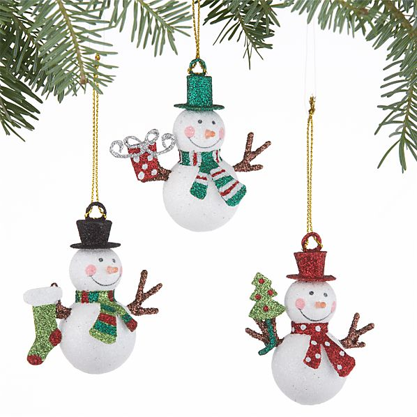 Set of 3 Mini Glitter Snowman Ornaments
