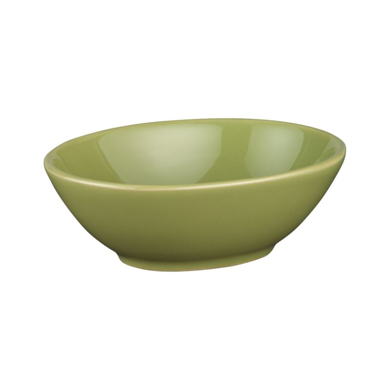 Versatile little dish with a fun oval shape and soft green glaze punches up snack service or whiteware table settings.<br /><br /><NEWTAG/><ul><li>Stoneware</li><li>Dishwasher-, microwave-, freezer- and oven-safe to 420 degrees</li><li>Made in China</li></ul>