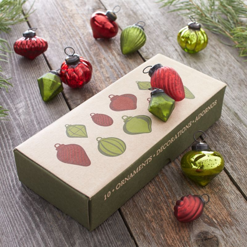 Set of 10 Red and Green Ornaments