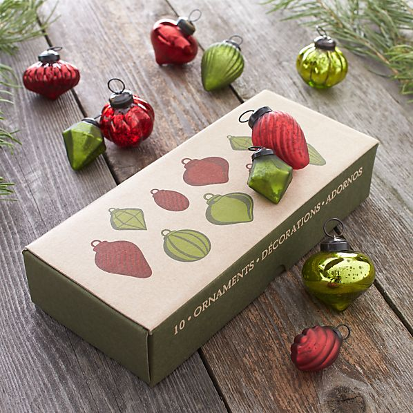 Red and Green Ornaments Set of Ten