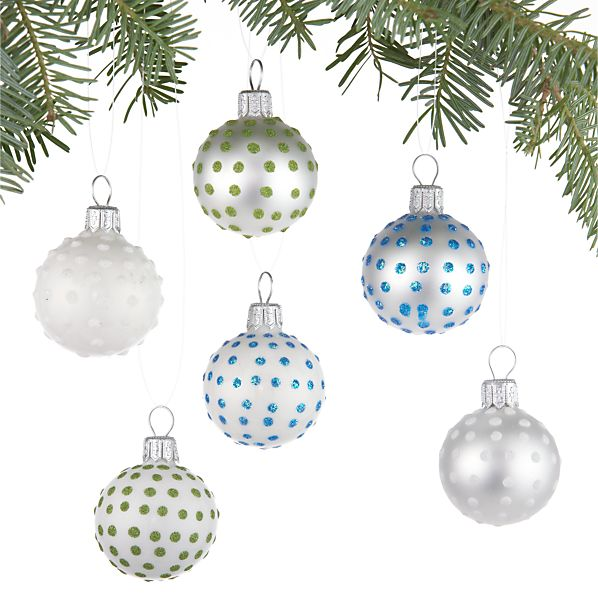 Set of 6 Mini Pin Dot Ball Ornaments