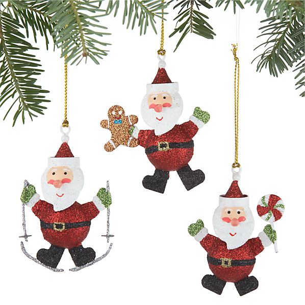 Set of 3 Mini Glitter Santa Ornaments