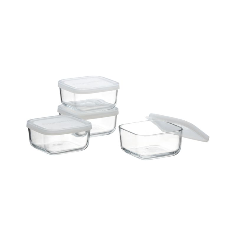 Set of 4 Mini Square Bowls with Lids