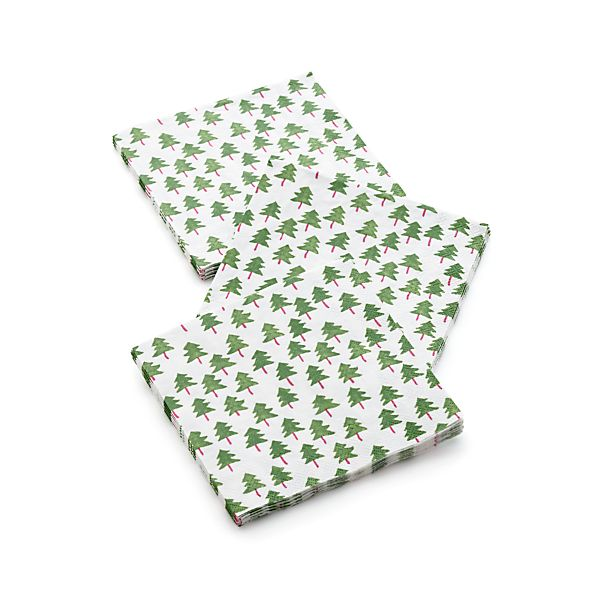 Set of 20 Mini Trees Beverage Napkins