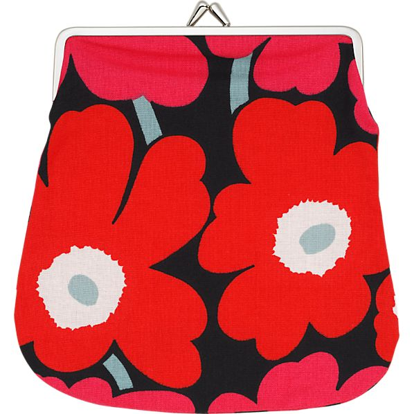 Marimekko Mini Unikko Keskikokoinen Kukkaro Red and Black Coin Purse