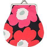 Marimekko Mini Unikko Pieni Kukkaro Red and Black Coin Purse