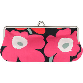 Marimekko Mini Unikko Silmalasikukkaro Red and Black Coin Purse