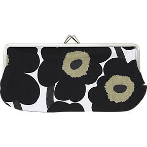 Marimekko Mini Unikko Silmalasikukkaro Black and White Coin Purse