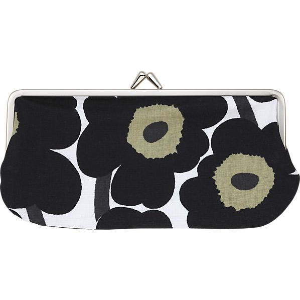 Marimekko Mini Unikko Silmälasikukkaro Black and White Coin Purse