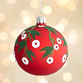 Mistletoe Red Ball Ornament