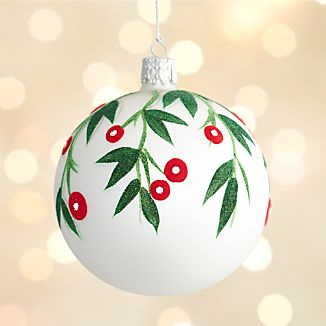 Mistletoe White Ball Ornament