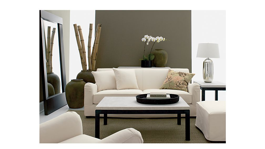 Parsons Square Coffee Table with Travertine Top