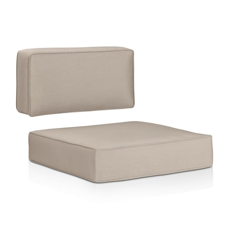 Optional deep cushions with self-welt detail are covered in fade- and mildew-resistant Sunbrella acrylic to outfit our Ventura sectional and lounge chairs. The Ventura Outdoor Sunbrella Sectional/Lounge Chair Cushions are a Crate and Barrel exclusive.<br /><br /><NEWTAG/><ul><li>Fade- and mildew-resistant Sunbrella acrylic</li><li>Foam fill</li><li>Material origin: see swatch</li><li>Made in USA</li></ul>