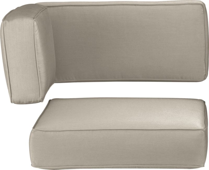Modern, squared-off modular corner cushions in fade- and mildew-resistant Sunbrella® acrylic are a neutral stone.<br /><br />After you place your order, we will send a fabric swatch via next day air for your final approval. We will contact you to verify both your receipt and approval of the fabric swatch before finalizing your order.<br /><br /><NEWTAG/><ul><li>Fade- and mildew-resistant Sunbrella acrylic</li><li>Spot clean</li><li>Polyurethane foam cushion fill</li><li>Made in USA</li></ul>