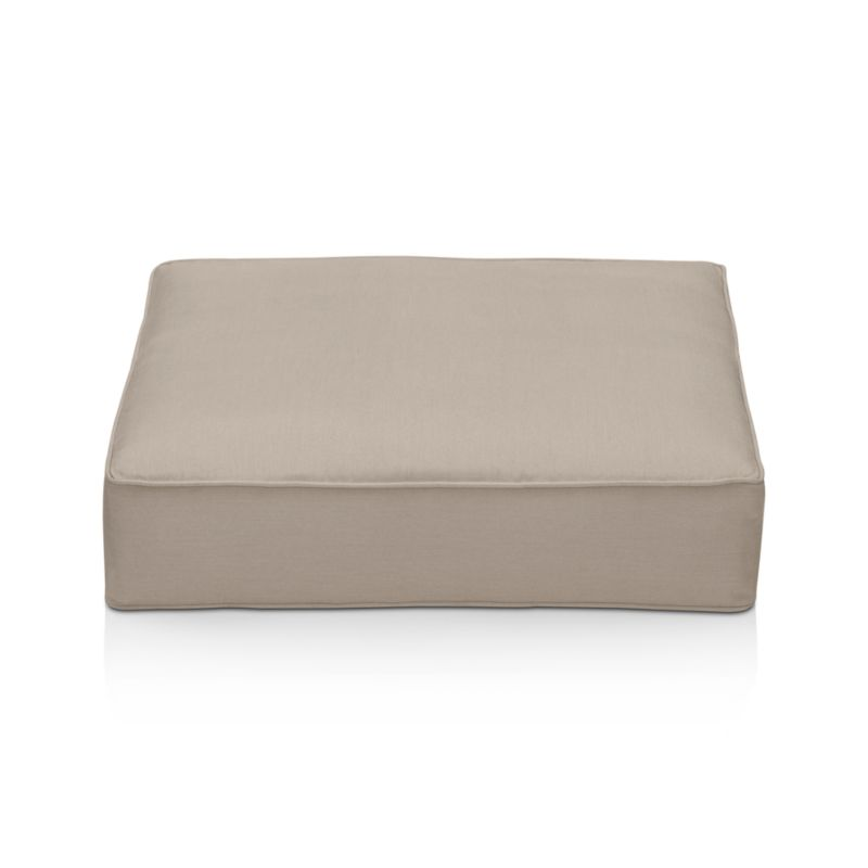 Thick cushion in fade- and mildew-resistant Sunbrella acrylic adds plush comfort to our Ventura ottoman in neutral stone.<br /><br />After you place your order, we will send a fabric swatch via next day air for your final approval. We will contact you to verify both your receipt and approval of the fabric swatch before finalizing your order.<br /><br /><NEWTAG/><ul><li>Fade- and mildew-resistant Sunbrella acrylic</li><li>Polyurethane foam cushion fill</li><li>Spot clean the cushion cover</li><li>Made in USA</li><