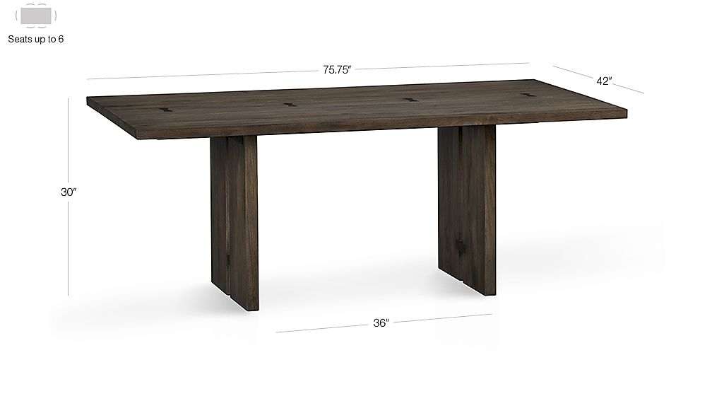 "Monarch 76"" Dining Table Dimensions"