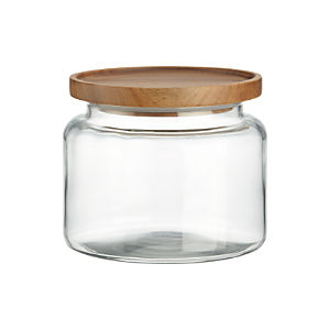 Montana 48 oz. Acacia and Glass Jar