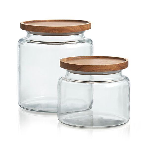 Montana Acacia And Glass Jars Crate And Barrel