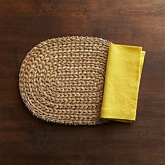 Montego Oval Placemat and Helena Mustard Linen Napkin