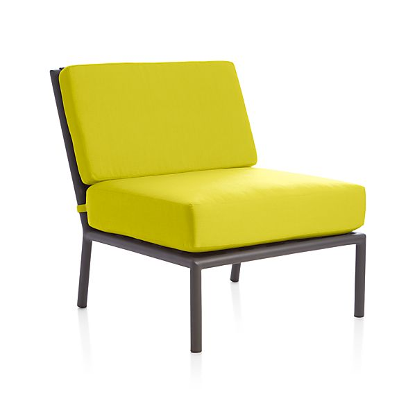 Morocco sectional armless chair with sunbrella sulfur for Crate and barrel armless chair