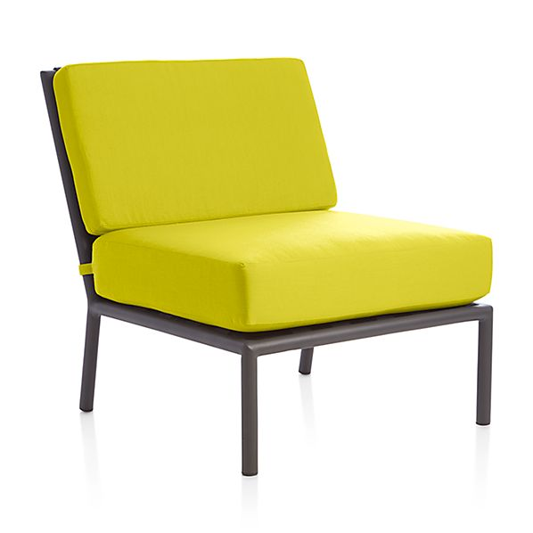 Morocco sectional armless chair with sunbrella cushion for Crate and barrel armless chair