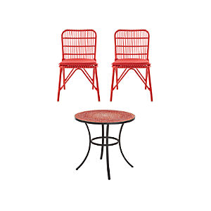 Mosaic and Kruger 3-Piece Red Dining Set