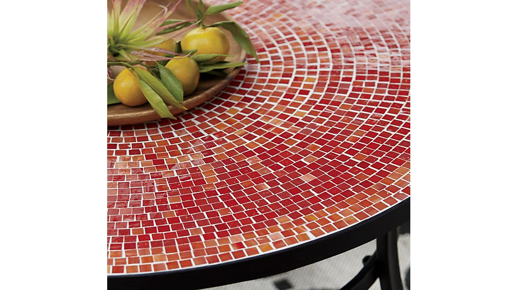 Mosaic Red Bistro Table In Dining Furniture Crate And Barrel