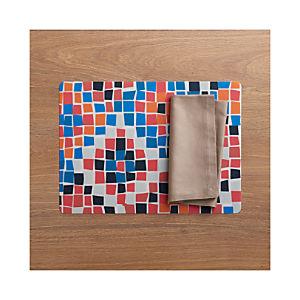Mosaic Placemat and Fete Brindle Cotton Napkin