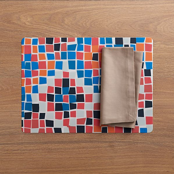 Mosaic Placemat and Fete Brindle Cotton Napkin