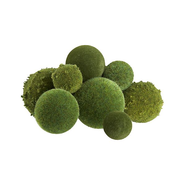 Set of 9 Assorted Moss Covered Balls