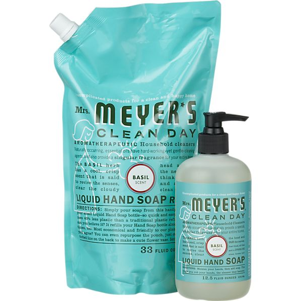 2-Piece Mrs. Meyer's Clean Day® Basil Hand Soap and Refill Set