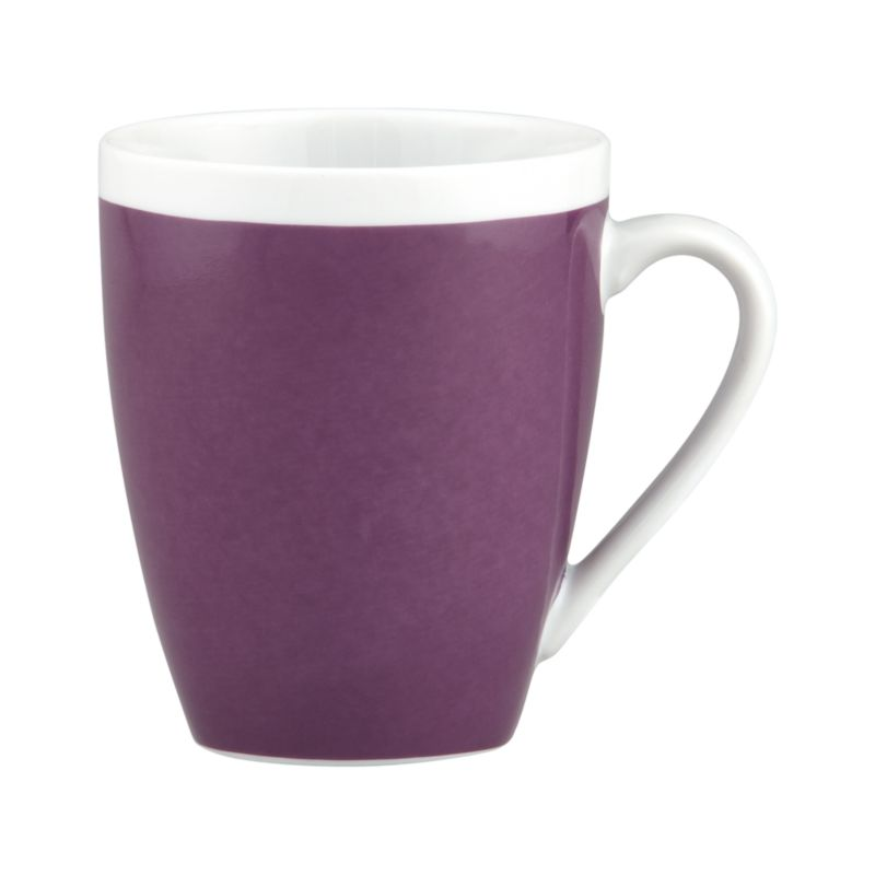 A pop of color for everyday dining. Clean, coupe shape is amethyst with a wide band of white around the rim.<br /><br /><NEWTAG/><ul><li>Porcelain</li><li>Dishwasher-, microwave- and oven-safe to 350 degrees</li><li>Made in China</li></ul>