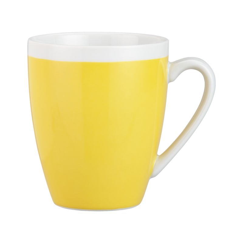 A pop of color for everyday dining. Clean, coupe shape is yellow with a wide band of white around the rim.<br /><br /><NEWTAG/><ul><li>Porcelain</li><li>Dishwasher-, microwave- and oven-safe to 350 degrees</li><li>Made in China</li></ul>
