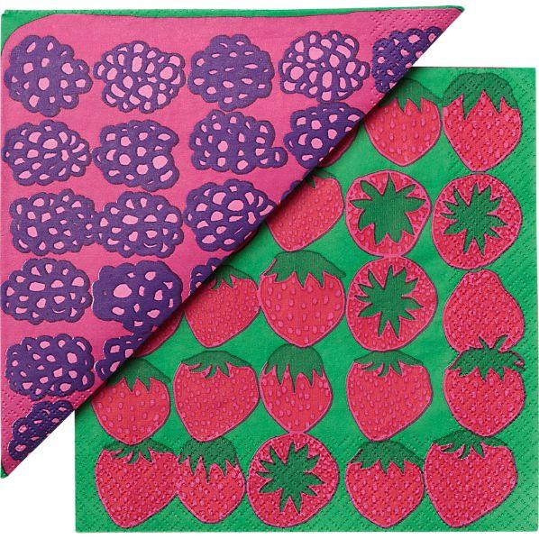 """Set of 20 Marimekko Mummolan Marjat Paper 6.5"""" Napkins"""