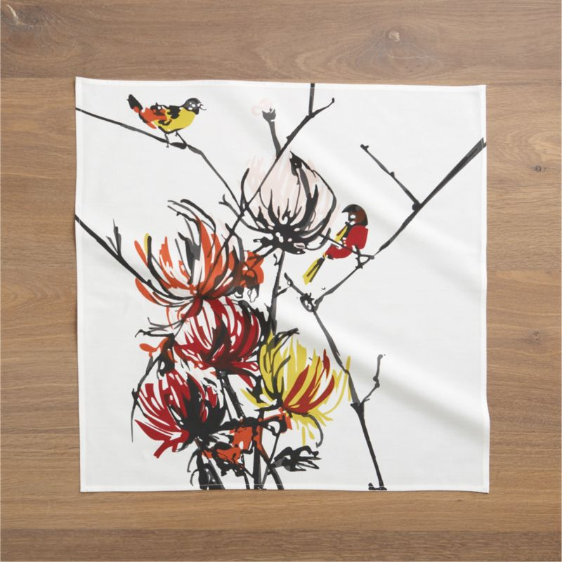 Sweetly rendered birds alight on branches of feathery mums in this artfully painted design by Luli Sanchez, printed on 100% cotton.<br /><br /><NEWTAG/><ul><li>Designed by Luli Sanchez</li><li>100% cotton</li><li>Machine wash cold, tumble dry; warm iron as needed</li><li>Do not dry clean</li><li>Made in India</li></ul>