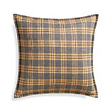 "Mustard Plaid 20"" Pillow with Feather Insert"