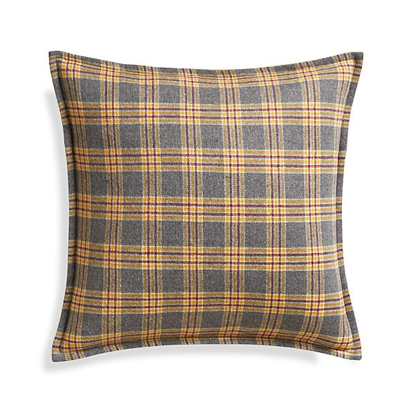 "Mustard Plaid 20"" Pillow with Down-Alternative Insert"