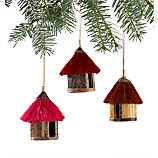 Set of 3 Fiber Hut Ornaments
