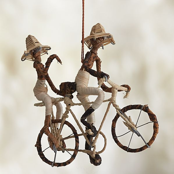 Natural Fiber Double Bicyclists Ornament