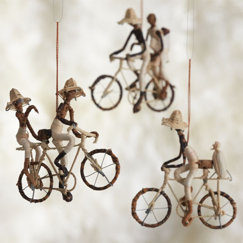 Natural Fiber Bicyclist Ornaments