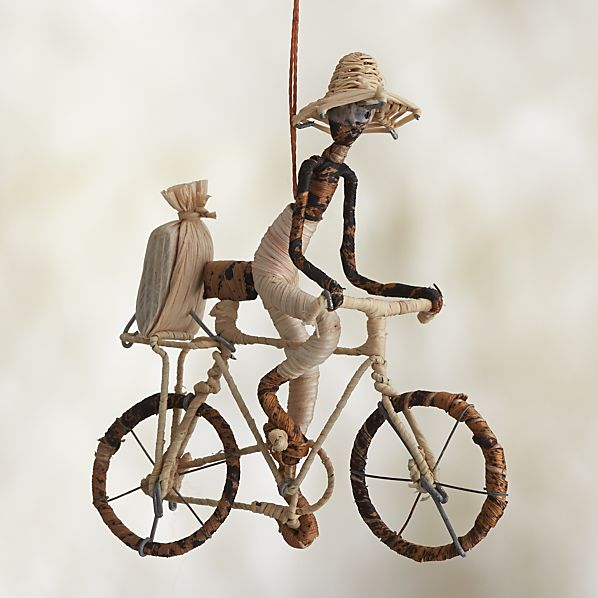 Natural Fiber Single Bicyclist Ornament