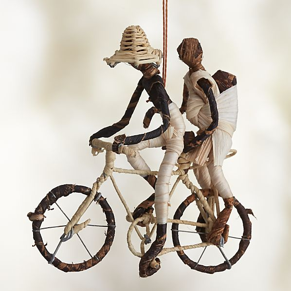 Natural Fiber Bicyclist with Baby Ornament