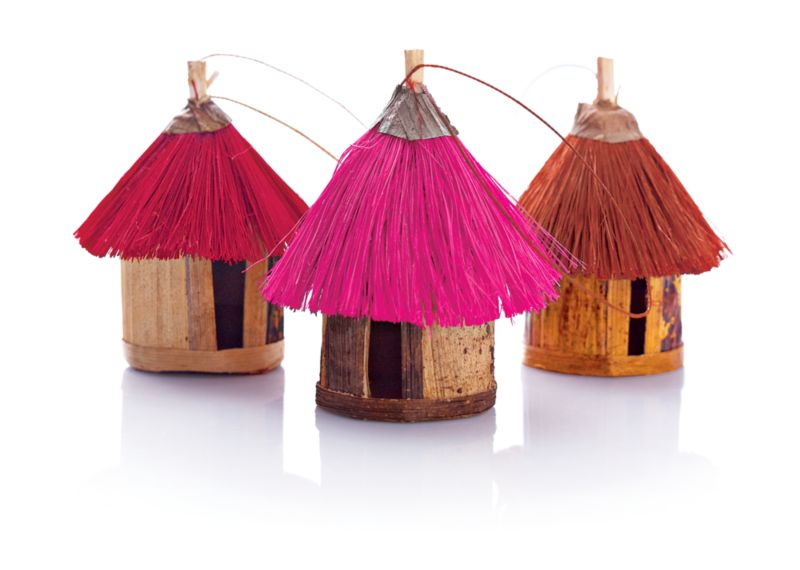 African Fiber Hut Ornaments