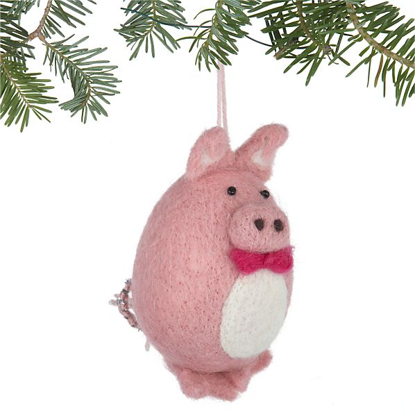 Wool Pig with Bow Tie Ornament