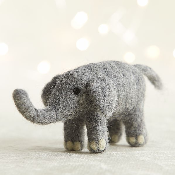 Needle Felt Wool Elephant Ornament