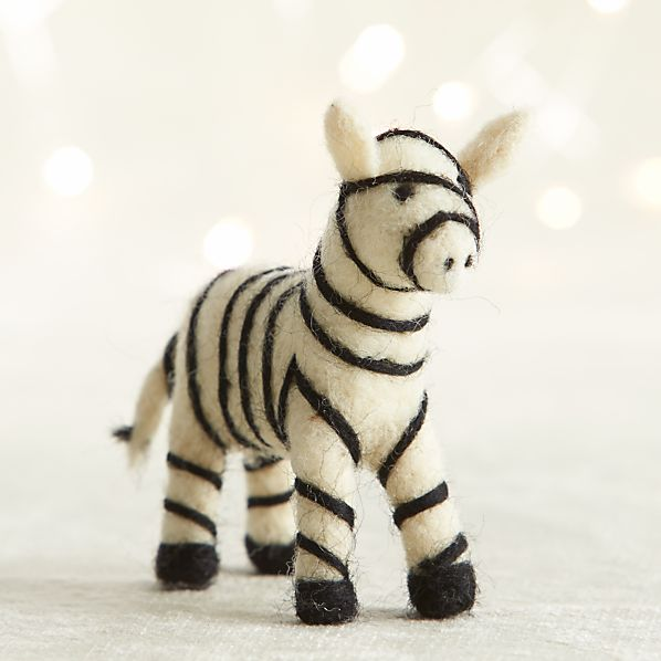 Needle Felt Wool Zebra Ornament