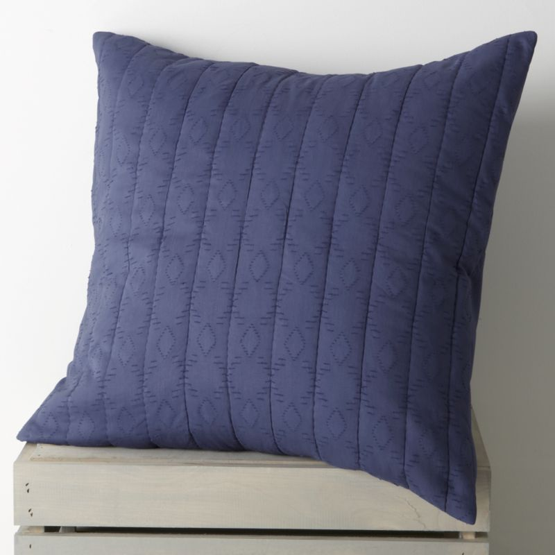 Brilliant blue, gathered in hand-quilted rows and patterned with diamonds, lending rich texture to soft cotton and cotton voile. Sham reverses to a cotton voile with a generous overlapping closure. Bed pillows also available.<br /><br /><NEWTAG/><ul><li>100% cotton</li><li>100% polyester filling</li><li>Machine wash cold, tumble dry low</li><li>Do not iron</li><li>Made in India</li></ul>