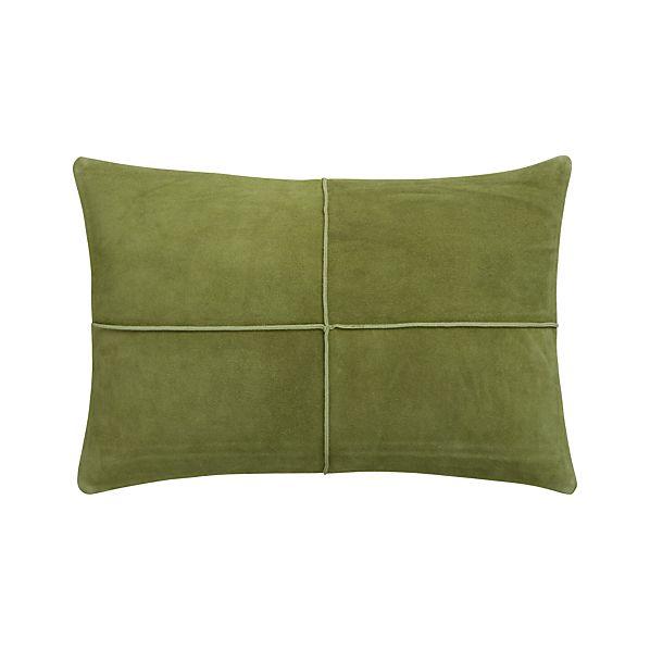 "Nesbit Green 18""x12"" Pillow with Feather-Down Insert"