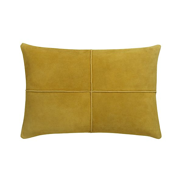 "Nesbit Yellow 18""x12"" Pillow with Down-Alternative Insert"
