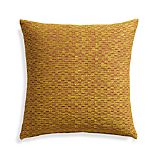 "Nettles Mustard 23"" Pillow with Feather Insert."